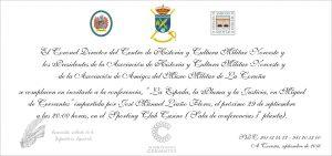 Invitacion conferencia La Espada, la pluma y la Justicia en Miguel de cervantes